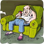 Cartoon Of Lazy Drinking Man On A Couch With Tv Remote