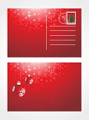 decorative christmas post card with bulb on red background