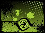 green abstract grunge with arrows, vector illustration