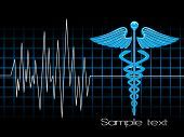 foto of lifeline  - lifeline in an electrocardiogram with caduceus symbol - JPG