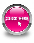 Click Here Glossy Pink Round Button poster