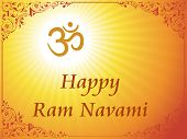 rays background with om pattern card for ram navami