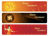 banner for ram navami with rama, swastika, aum illustration
