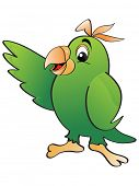 vector illustration with isolated green parrot