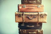 Vintage Ancient Luggage Suitcases Ancient Shabby poster