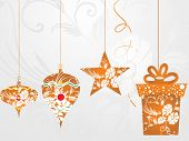 hanging decorated christmas icons with seamless background