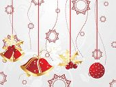 abstract seamless background with hanging christmas bell and bulb
