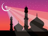 silhouette of mosques in over bright night sky, illustration