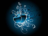 abstract creative artwork with set of blue hearts