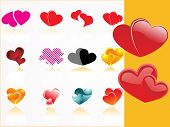background with set of romantic heart