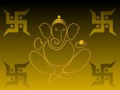 picture of swastika  - olive green background with ganpati - JPG