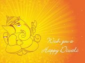 yellow rays background with floral border ganpati
