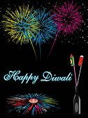 colorful firework background with cracker in bottle