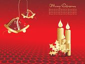 abstract red star background with beautiful bells and candle
