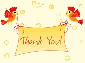background with birds holding thank you banner