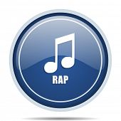 Rap music blue round web icon. Circle isolated internet button for webdesign and smartphone applicat poster