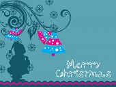 seagreen floral background with xmas bell and santa silhouette