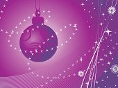 purple wave background with hanging xmas ball