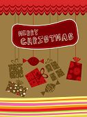 abstract merry christmas background with hanging toffee, gift bag