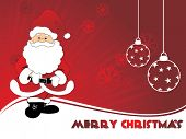 abstract maroon rays background with santa claus