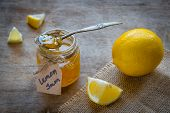 Homemade Lemon Jam In Glass Jar. Organic Fresh Yellow Jam poster