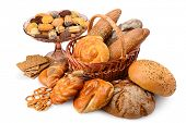 Variety bread products (buns, bread, biscuits, crackers) isolated on white background. Large assortm poster