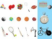 background with collection of sports equipment