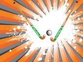 orange and grey rays background with white grunge hockey, ball