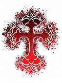 image of christian cross  - white background with isolated red grungy cross - JPG