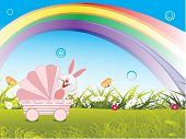 meadow background with rainbow and bunny in trolly