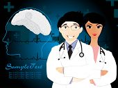 vector illustration of medical background with doctors