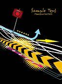 grungy fundo pontilhado com sinal de estrada, setas coloridas, listras e texto de exemplo