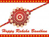 single decorated maroon rakhi on white background