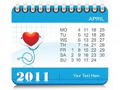vector medical calender for april 2011
