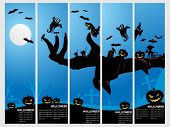set of five halloween banner, illustration