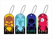background with set of halloween tag, vector illustration