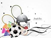 background with collection of sports object