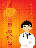 medical background with doctor, heart and human brain
