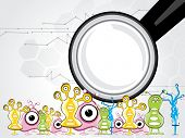 abstract wetenschap achtergrond met kleurrijke vreemdelingen, Microscoop