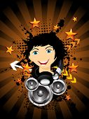 abstract brown rays background with grungy vinyl, comic face