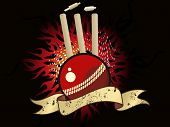 abstract fire cricket concept background with isolated ball, stumps and grunge ribbon