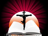 abstract sunset, rays background with bible and crucifixtion jesus