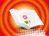 abstract dotted background with bible, isolated red rose