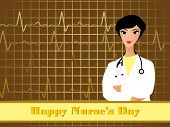 abstract heart background with isolated cute doctor, illustration