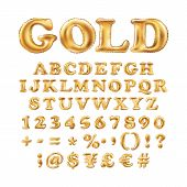 Metallic Gold Alphabet Balloons, Golden Letter Type For Text, Letter, New Year, Holiday, Birthday, C poster