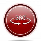 Panorama 360 red glossy round web icon. Circle isolated internet button for webdesign and smartphone poster
