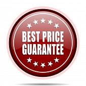 Best price guarantee red glossy round web icon. Circle isolated internet button for webdesign and sm poster