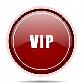 Vip red glossy round web icon. Circle isolated internet button for webdesign and smartphone applicat poster
