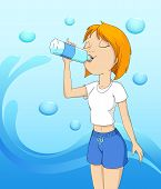 Beautiful Girl Drinking Water On Abstract Wave Background