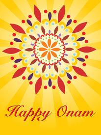 stock photo of pookolam  - beautiful illustration for happy onam - JPG